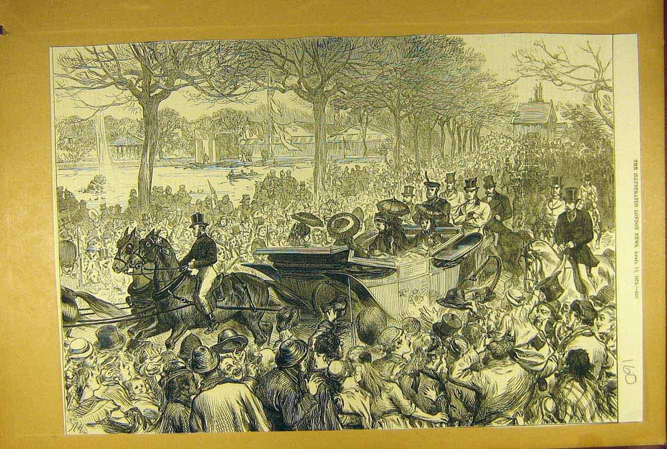 Print 1873 Royal Procession Queen Vistoria Cortege Park 608781 Old Original
