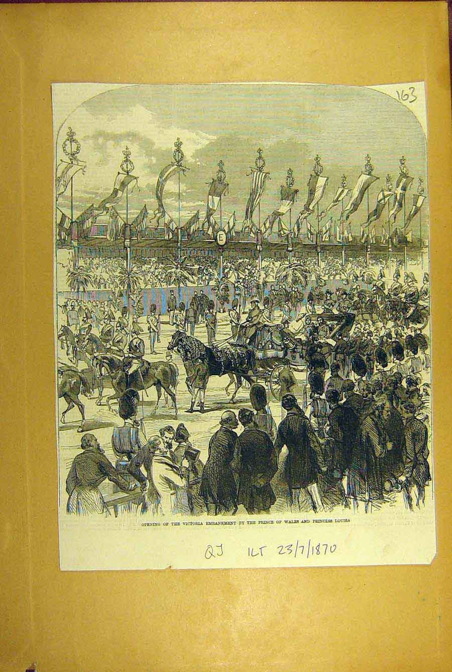 Print 1870 Victoria Embankment Prince Walkes Princess Louisa 638781 Old Original