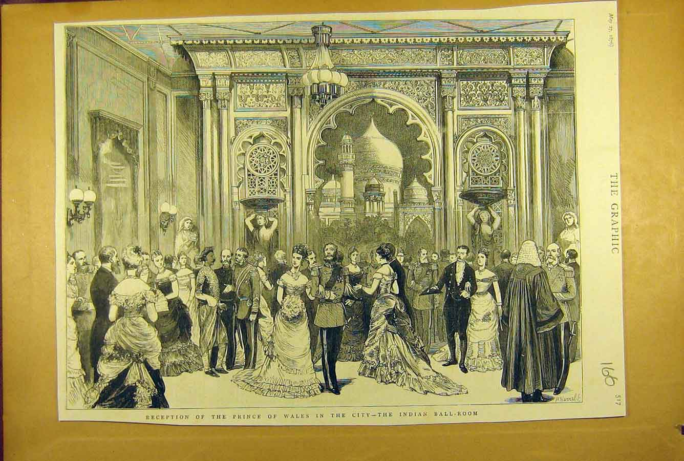 Print 1876 Prince Wales City Indian Ball-Room Reception Royal 668781 Old Original
