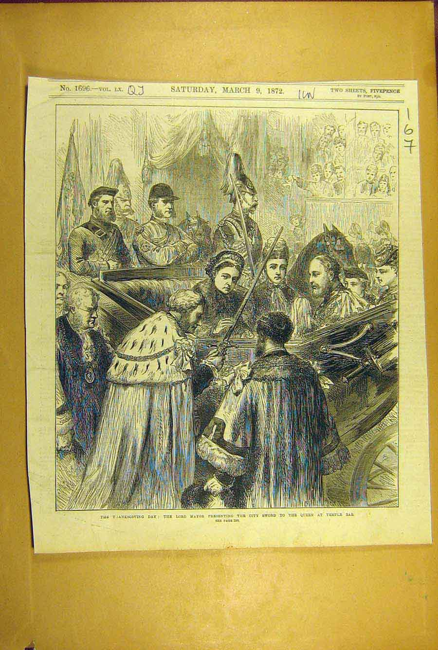 Print 1872 Thanksgiving Day Royal Queen Lord Mayor Temple Bar 678781 Old Original