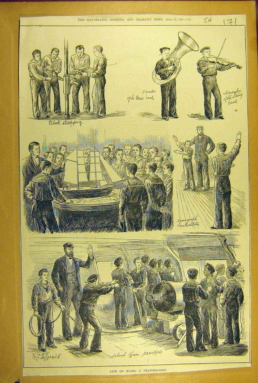 Print 1880 Training-Ship Life On-Board Sketches Sailors Naval 718781 Old Original