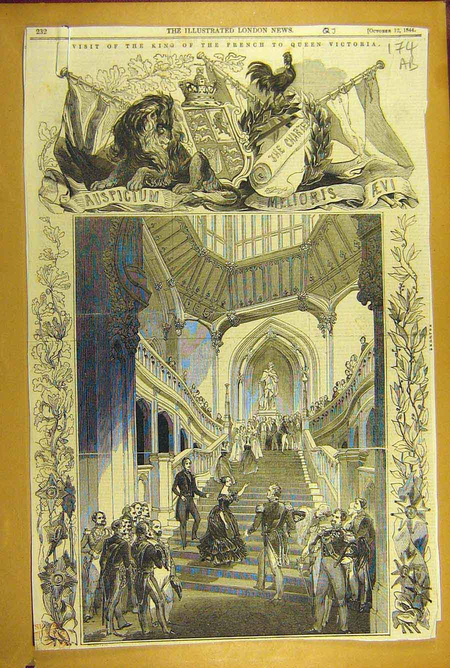 Print 1844 King French Queen Victoria Visit Costume Ball 74A8781 Old Original