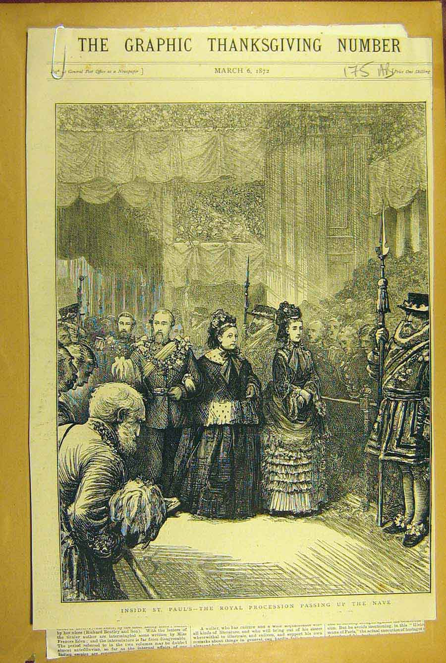Print 1872 St. Paul'S Royal Procession Nave Thanksgiving Day 75A8781 Old Original