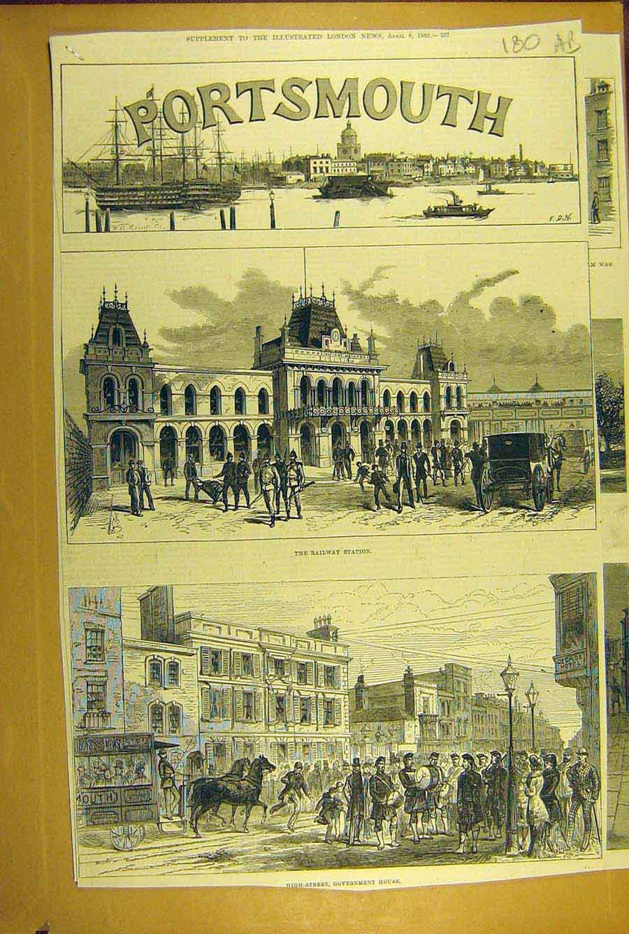 Print 1882 Portsmouth Church Railway Station House Dock 80A8781 Old Original