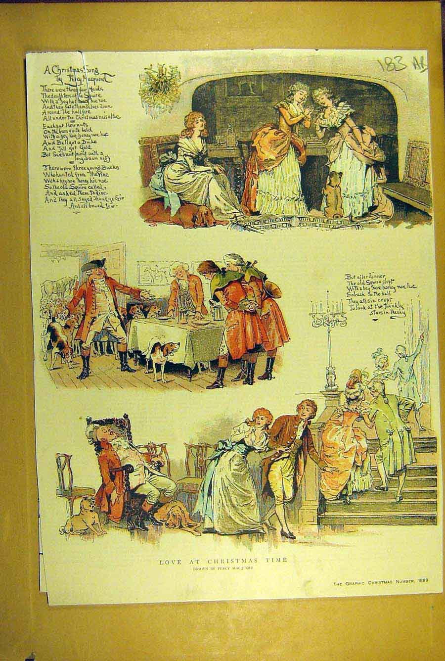 Print 1889 Christmas Song Sketches Macquoid Love Romance 83A8781 Old Original