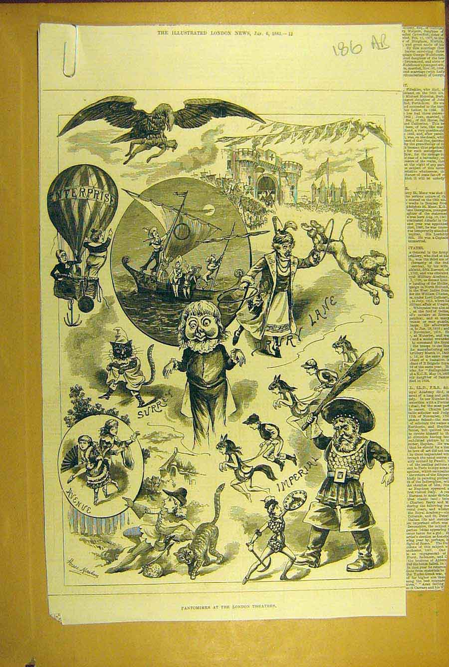 Print 1883 Pantomime London Theatre Imperial Drury Sketches 86A8781 Old Original