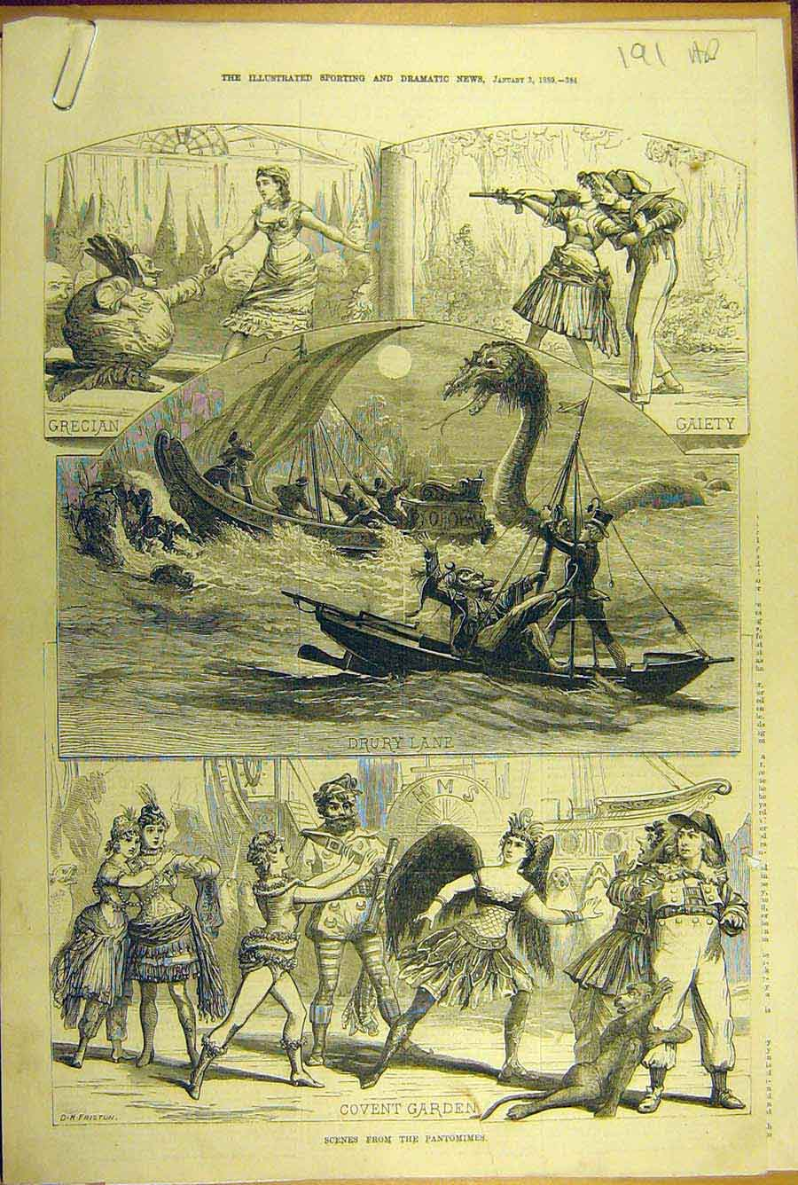 Print 1880 London Pantomimes Theatre Drury Covent Sadlers 91A8781 Old Original
