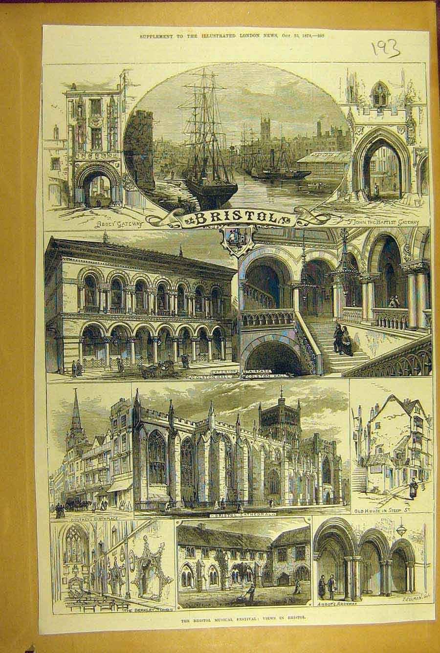 Print 1873 Bristol Cathedral Abbey Music-Festival Colston 938781 Old Original