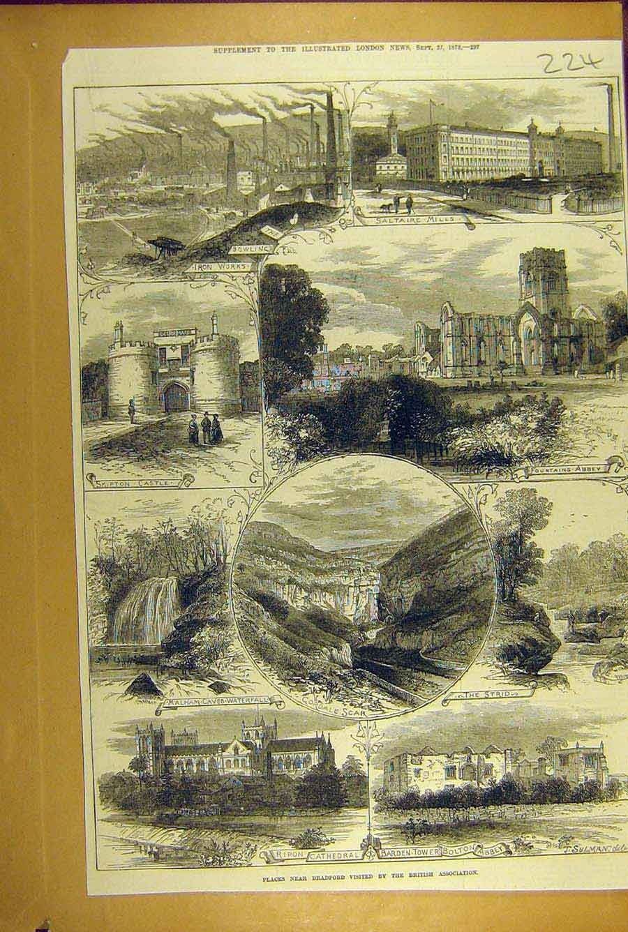 Print 1873 Bradford Sketches Cathedral Ripon Saltaire Skipton 248781 Old Original