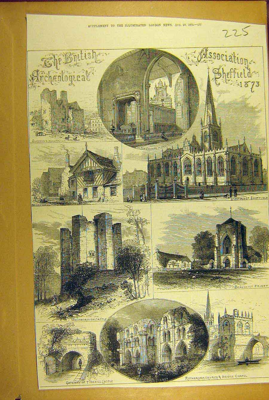Print 1873 Sheffield Rotherham Tickhill Castle Shrewsbury 258781 Old Original