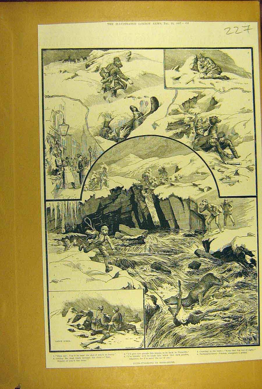 Print 1887 Hind-Stalking Ross-Shire Scotland Hunting Shooting 278781 Old Original