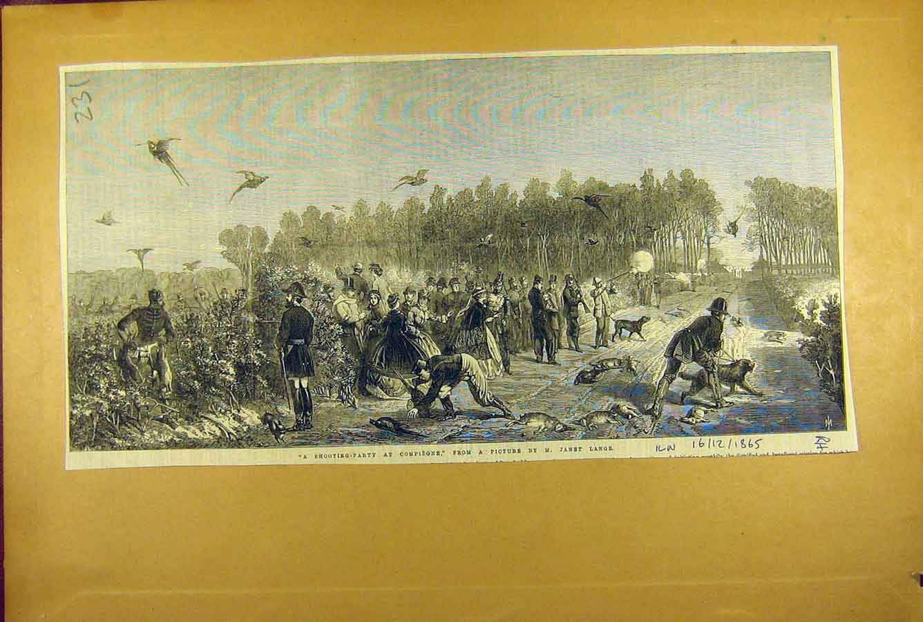Print 1865 Shooting Party Compiegne Lange Fine Art 318781 Old Original
