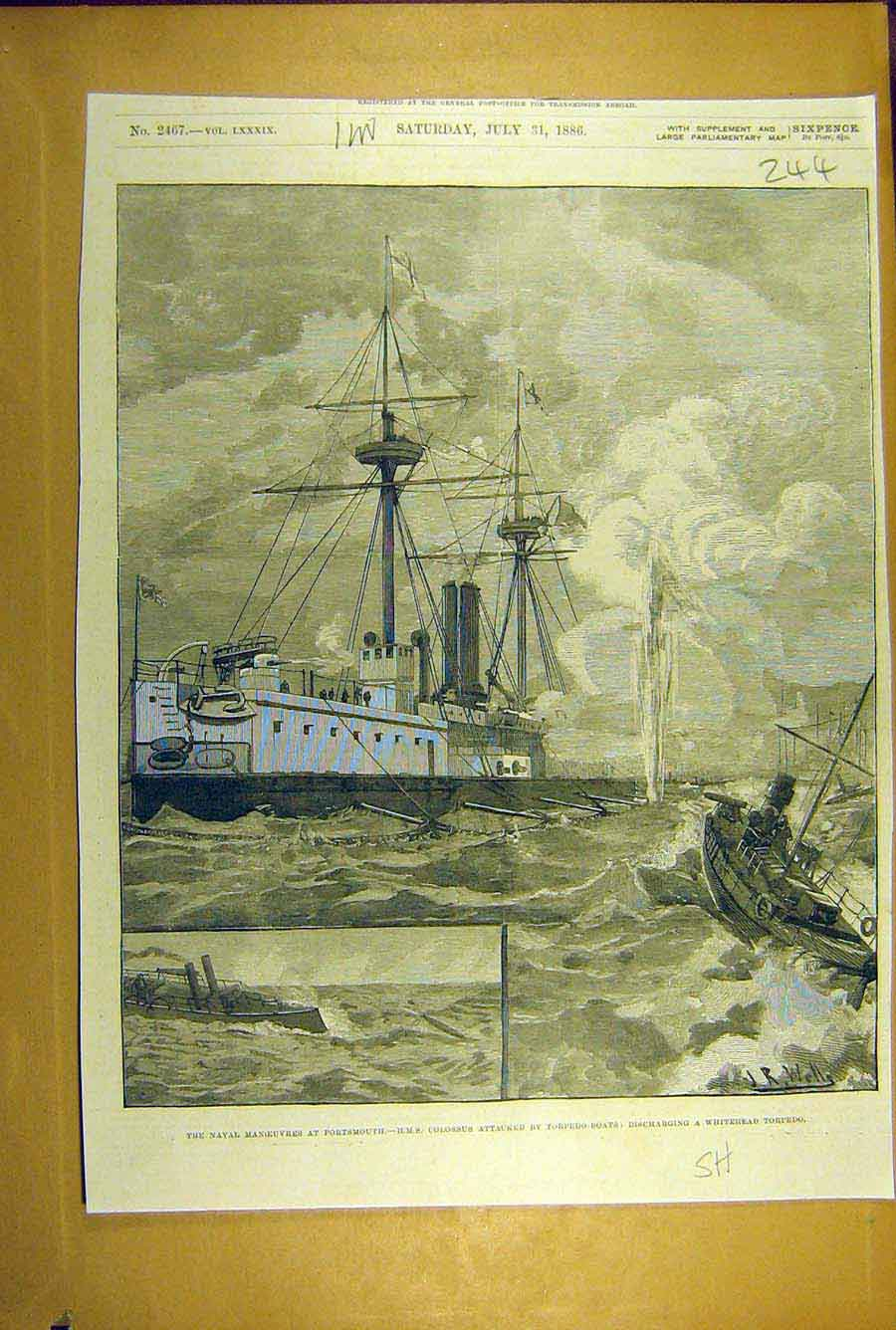 Print 1886 Naval Manoeuvres Portsmouth Hms Colossus Torpedo 448781 Old Original
