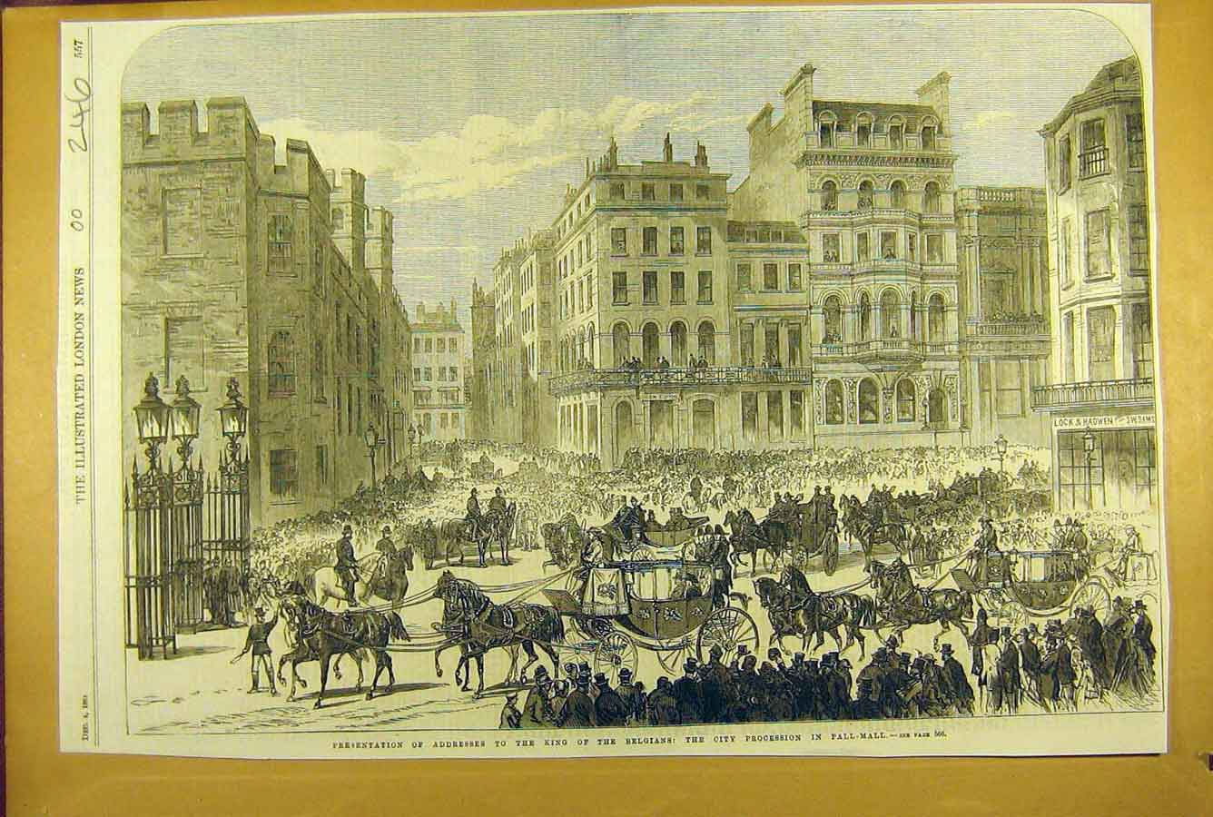 Print 1869 King Belgian Address City Procession Pall-Mall 468781 Old Original