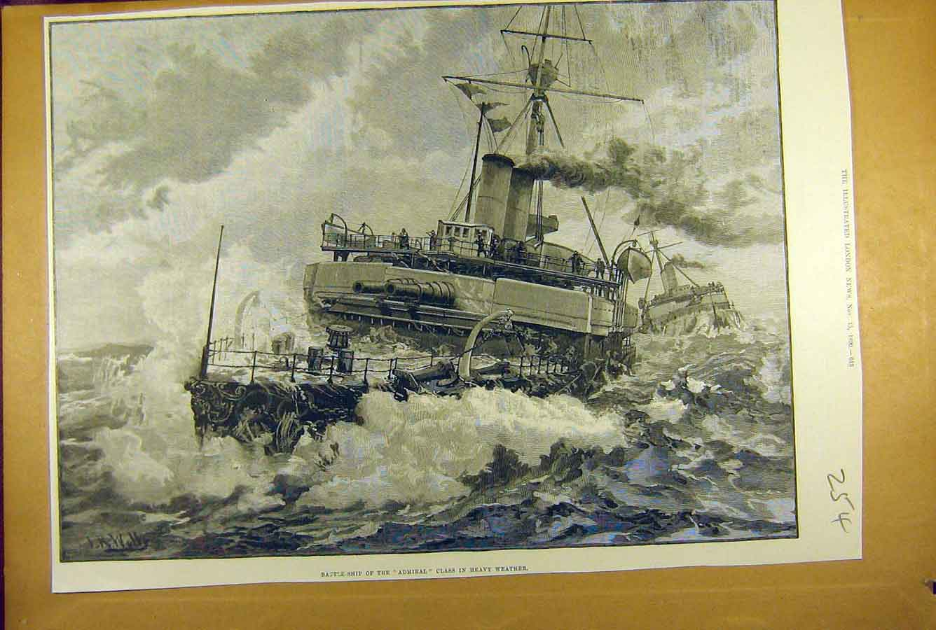 Print 1890 Battle-Ship Admiral Heavy Weather Naval 548781 Old Original