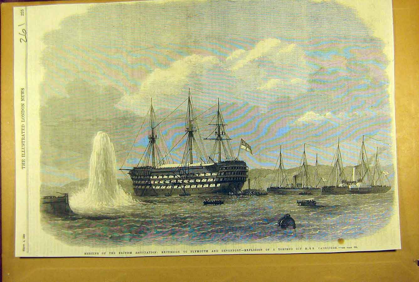Print 1869 Explosion Torpedo Hms Cambridge Plymouth Devonport 618781 Old Original