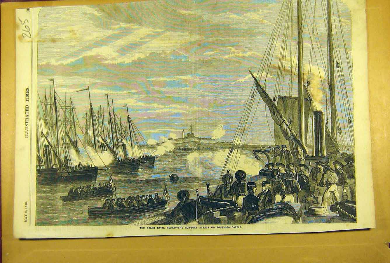 Print 1856 Grand Naval Review Gun-Boat Attack Southsea Castle 658781 Old Original