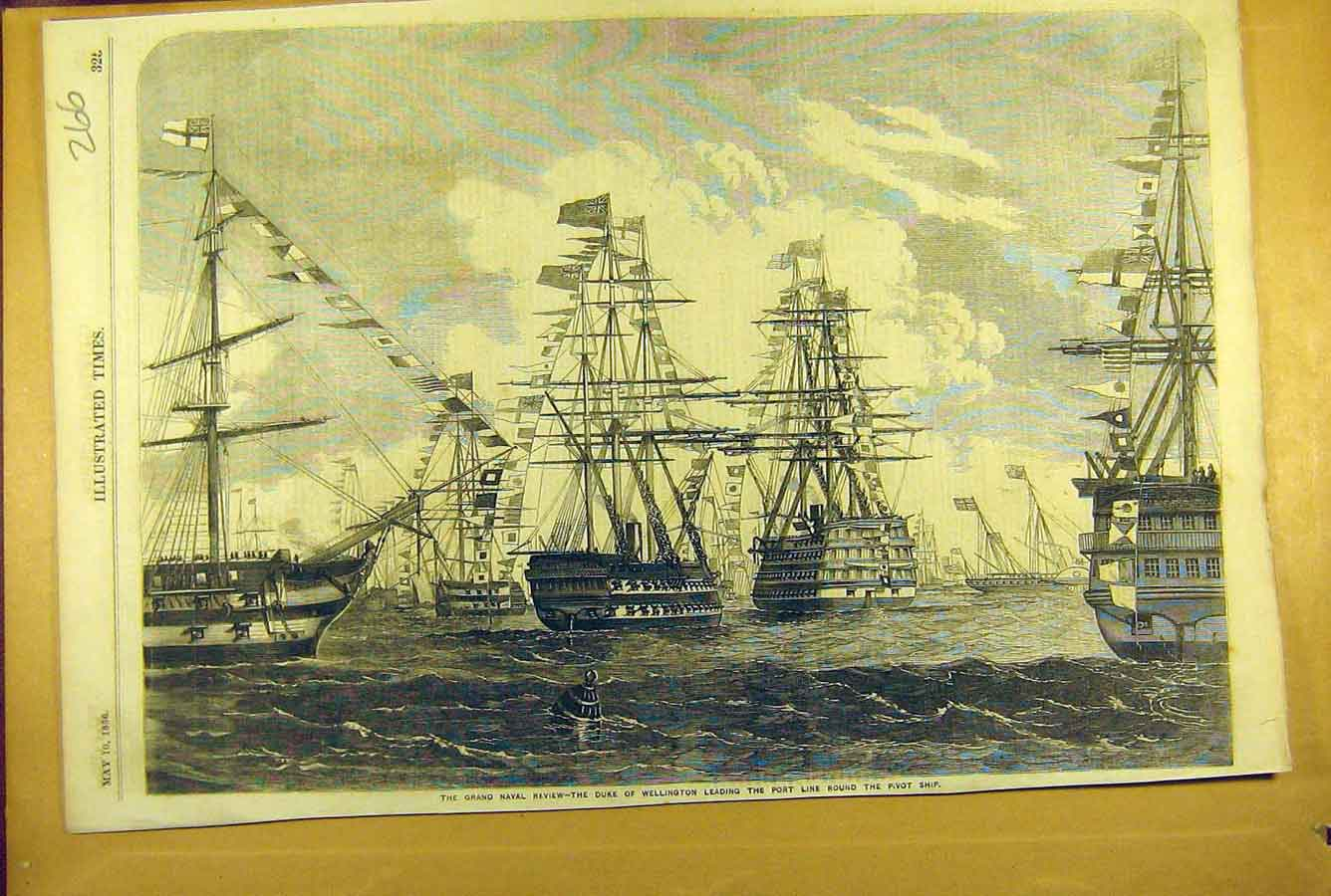 Print 1856 Naval Review Duke Wellington Pivot Ship Port Line 668781 Old Original