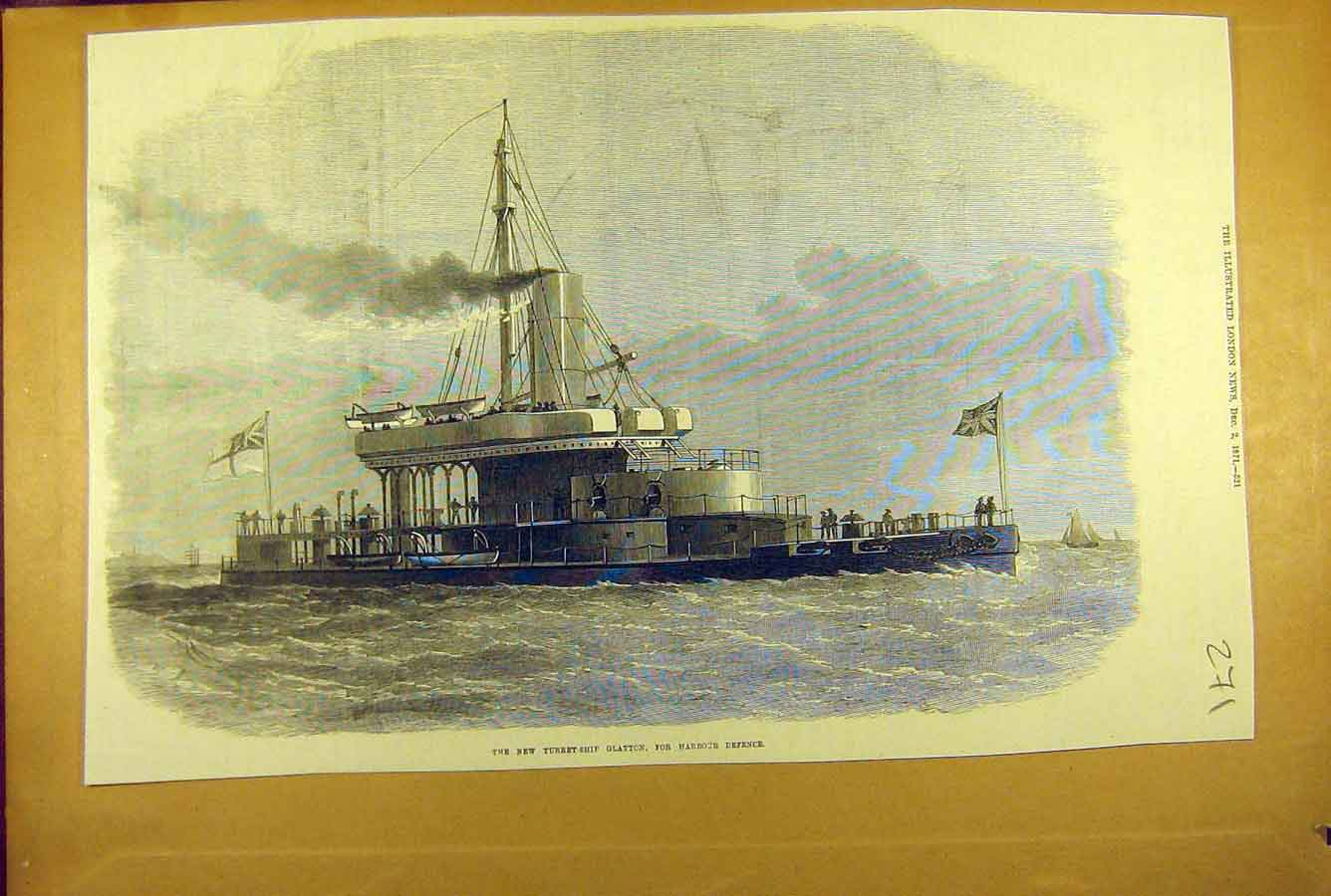 Print 1871 Turret-Ship Glatton Harbour Defence Naval 718781 Old Original