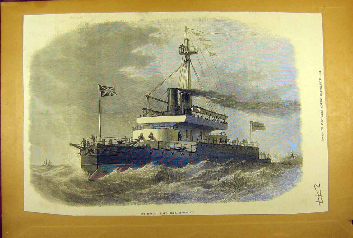 Print 1871 Ironclad Fleet Hms Devastation Ship Naval 778781 Old Original