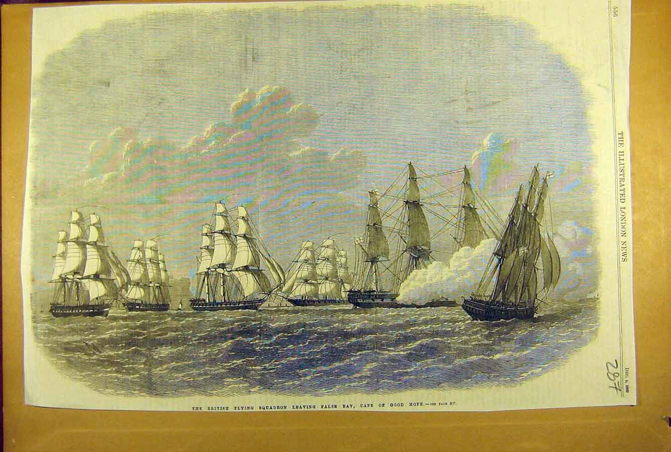 [Print 1869 British Flying Squadron False-Bay Cape Africa Navy 878781 Old Original]