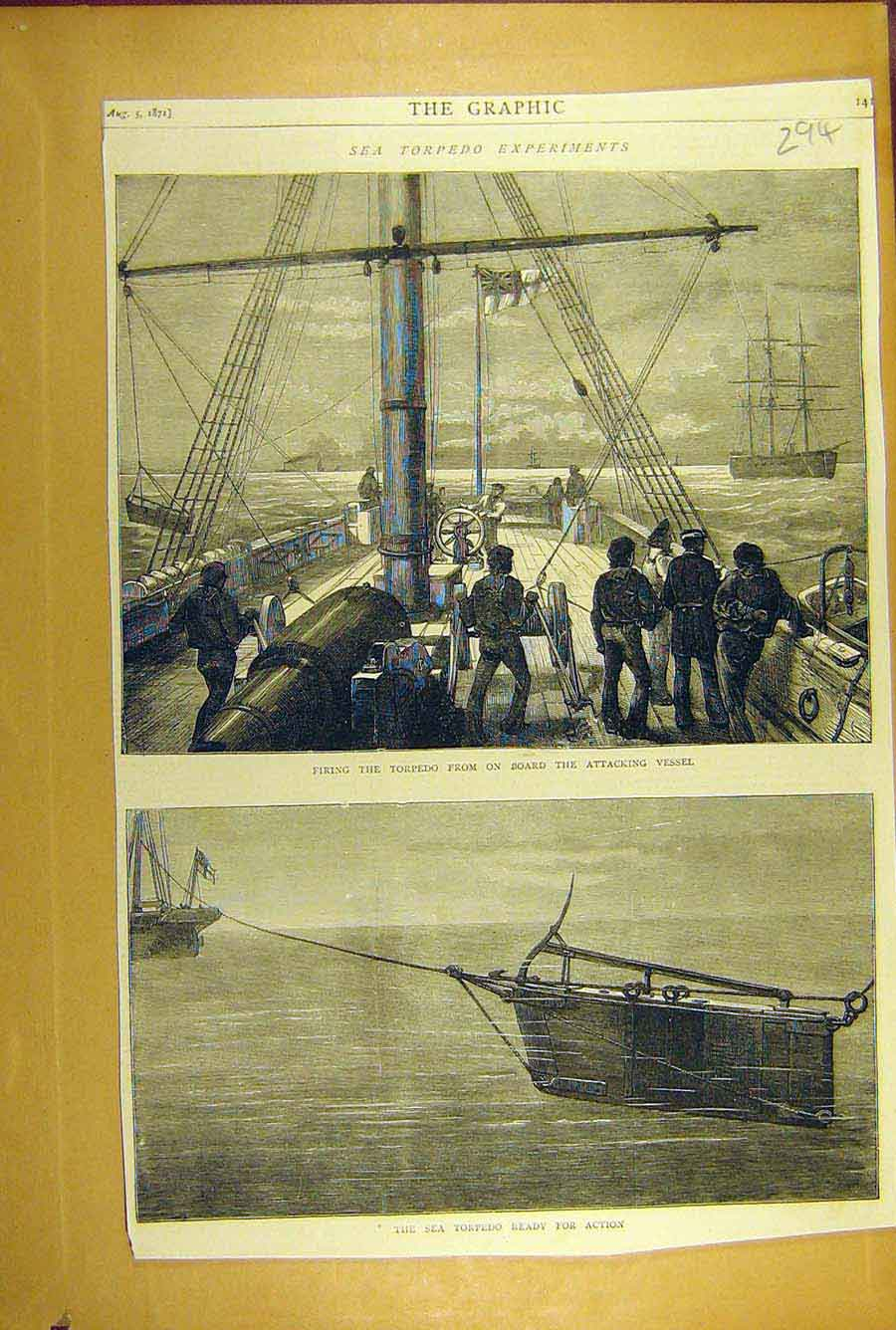 Print 1871 Sea Torpedo Experiments Naval Navy 948781 Old Original