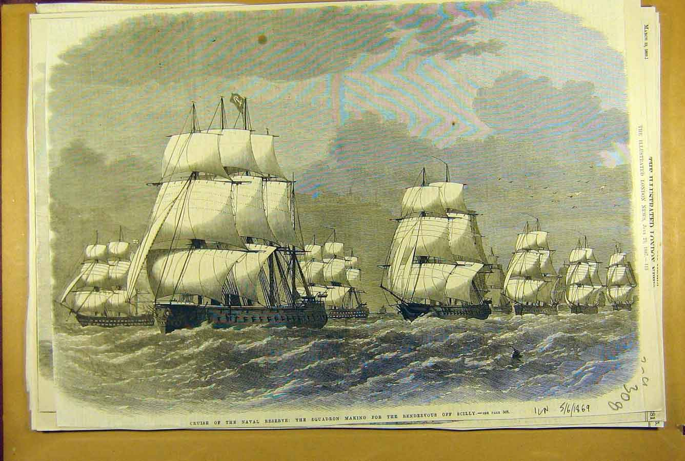 Print 1869 Naval Reserve Squadron Scilly Rendezvous Ships 088781 Old Original