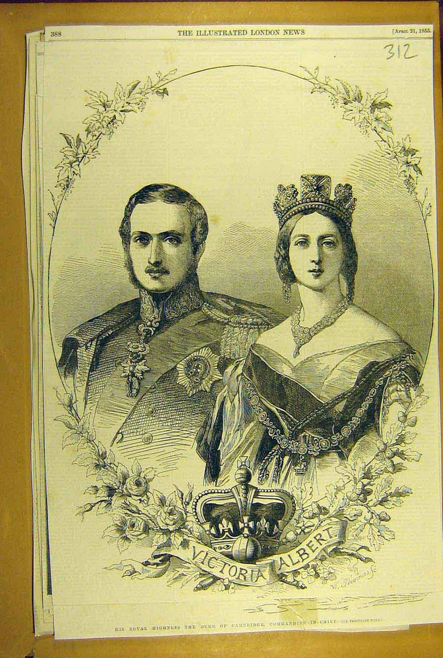 Print 1855 Victoria Albert Royal Portrait Social History 128781 Old Original
