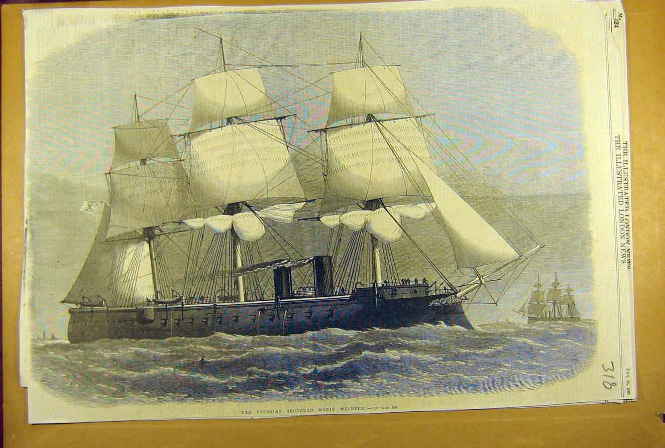 Print 1869 Prussian Iron-Clad Ship Konig-Wilhelm Naval 188781 Old Original