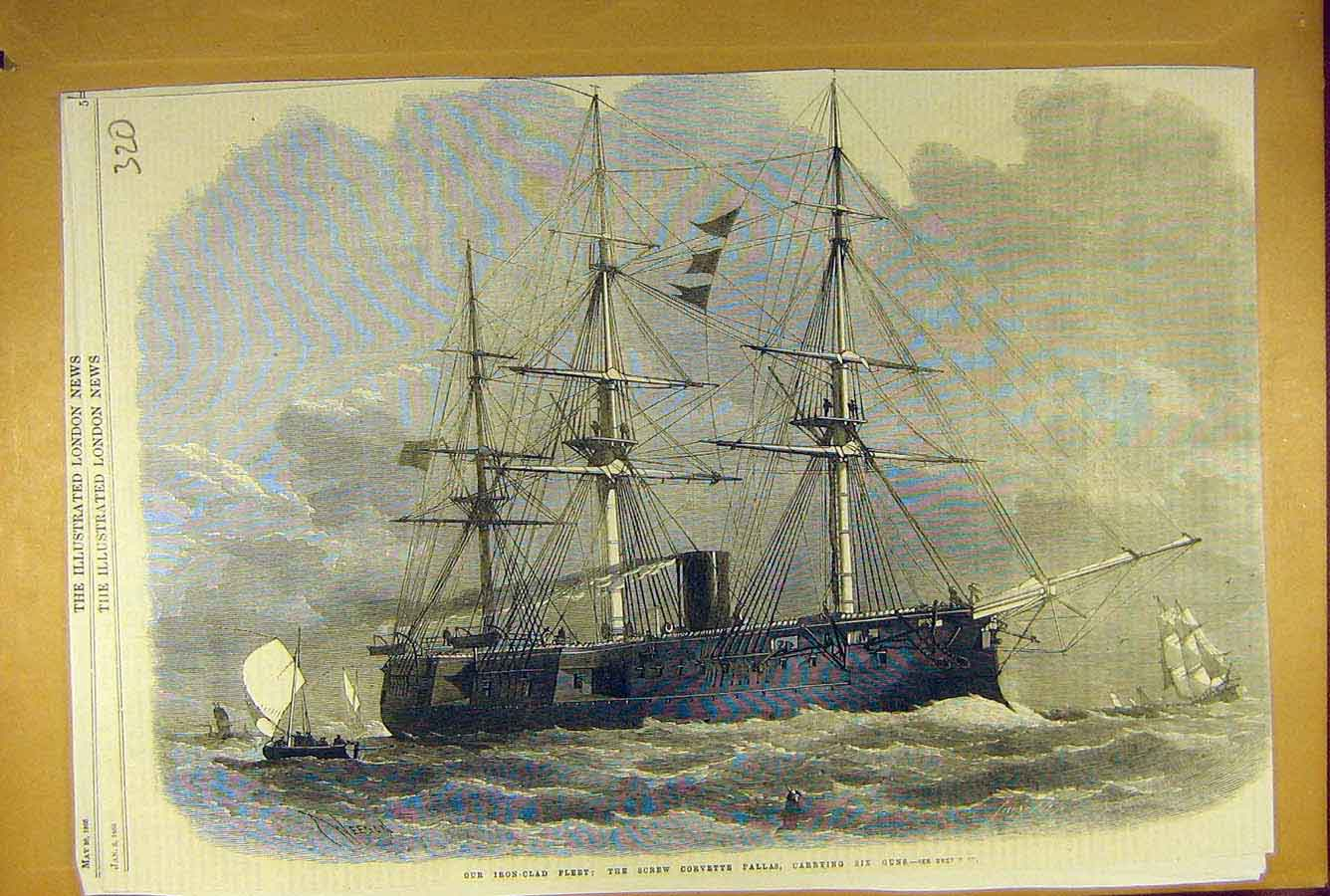 Print 1866 Iron-Clad Fleet Screw Corvette Pallas Gun-Ship 208781 Old Original
