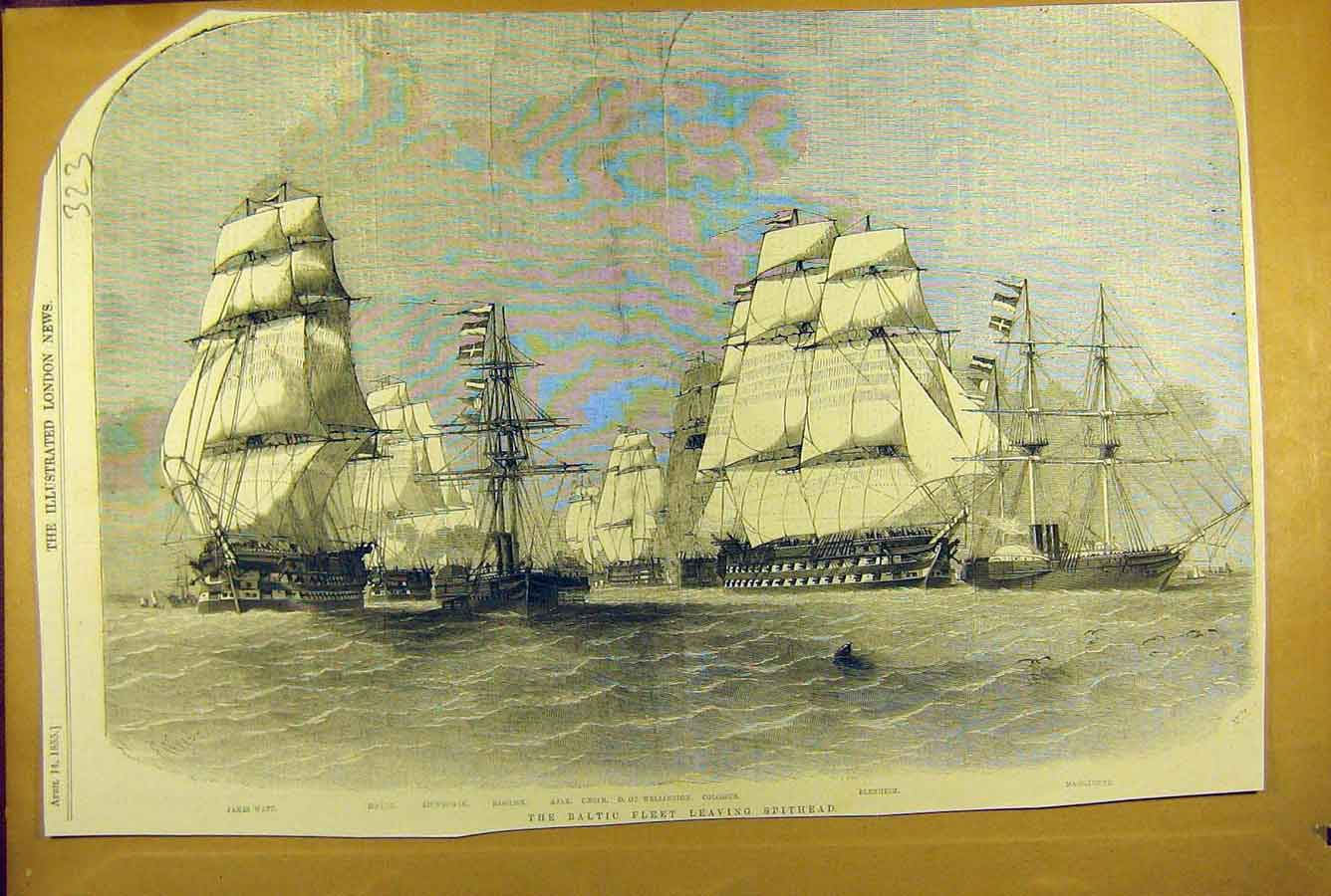 Print 1855 Baltic Fleet Spithead Ships Ajax Colossus Caesar 238781 Old Original