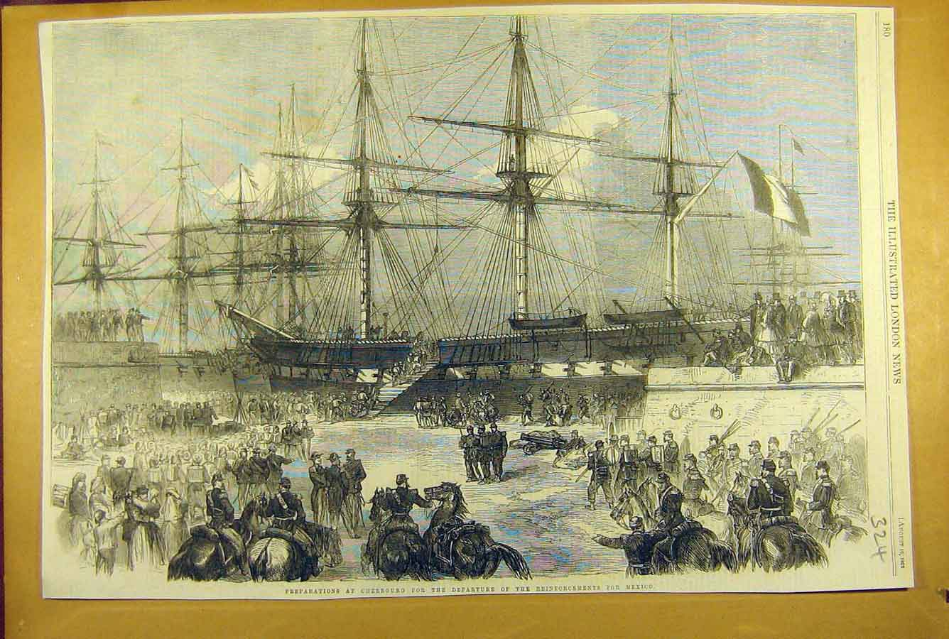 Print 1862 Cherbourg Reinforcements Mexico Military War 248781 Old Original