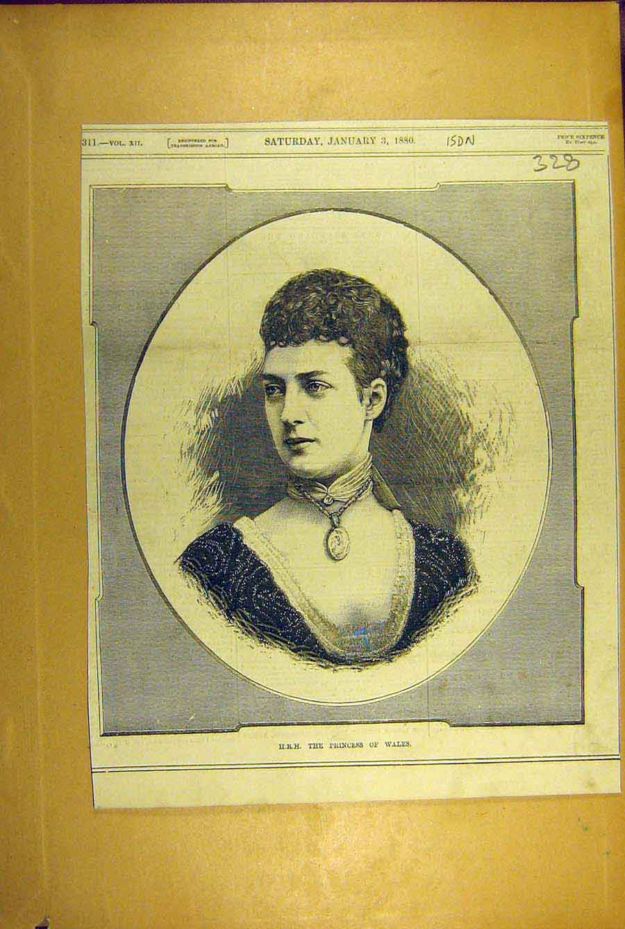 Print 1880 Royal Portrait Princess Wales Social History 288781 Old Original