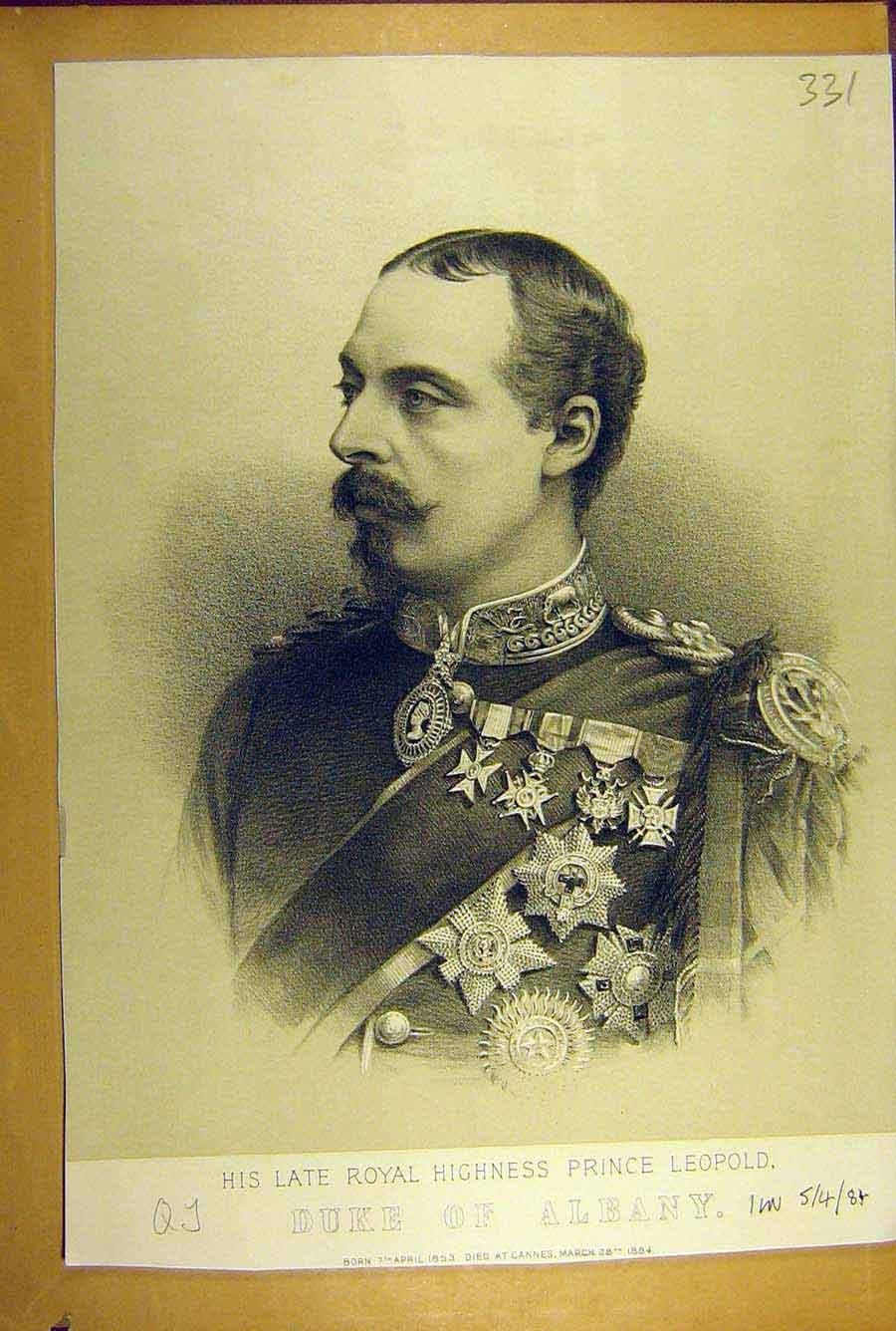 Print 1884 Portrait Duke Albany Prince LeopRoyal 318781 Old Original