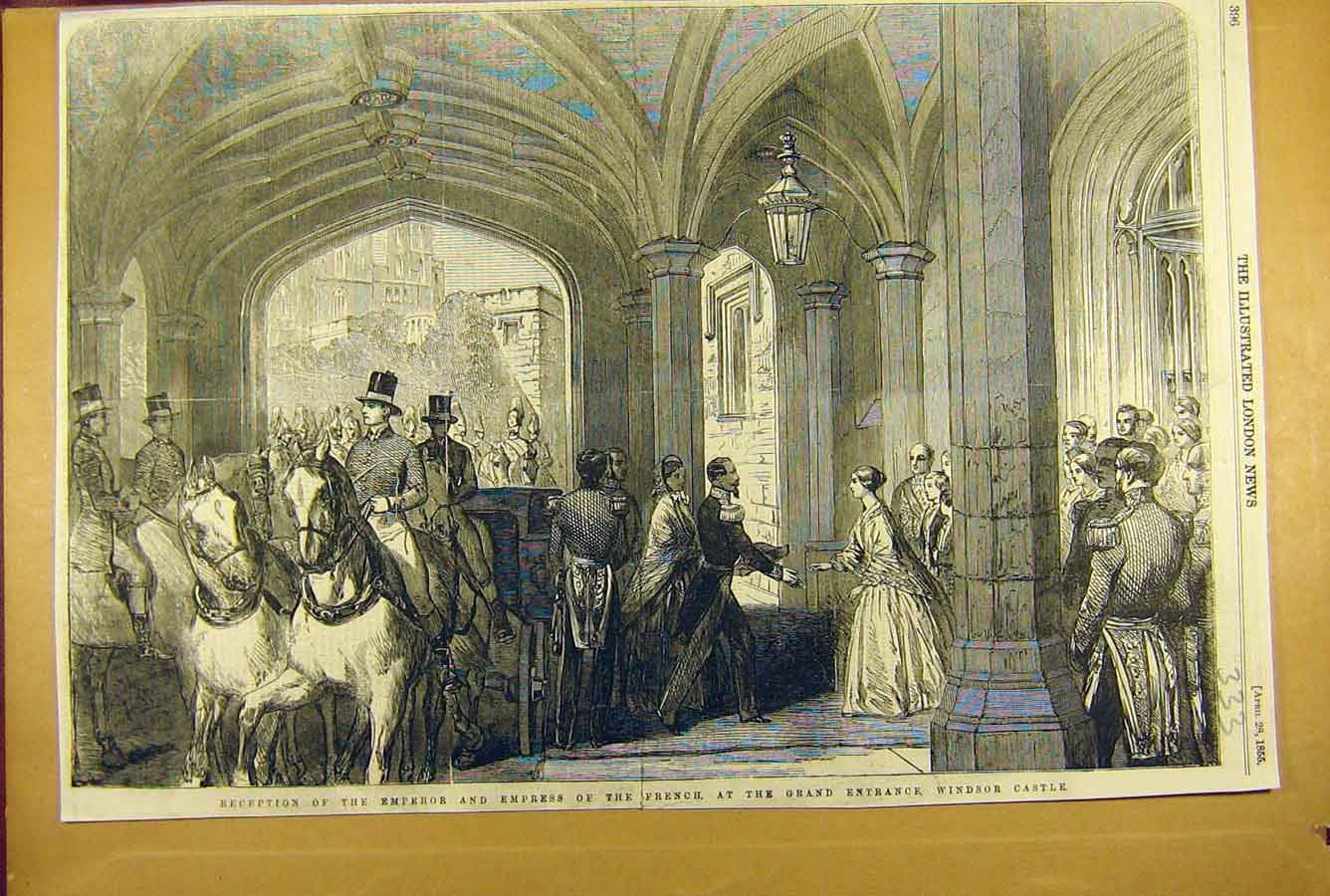 Print 1855 Emperor Empress French Windsor Castle Visit 338781 Old Original