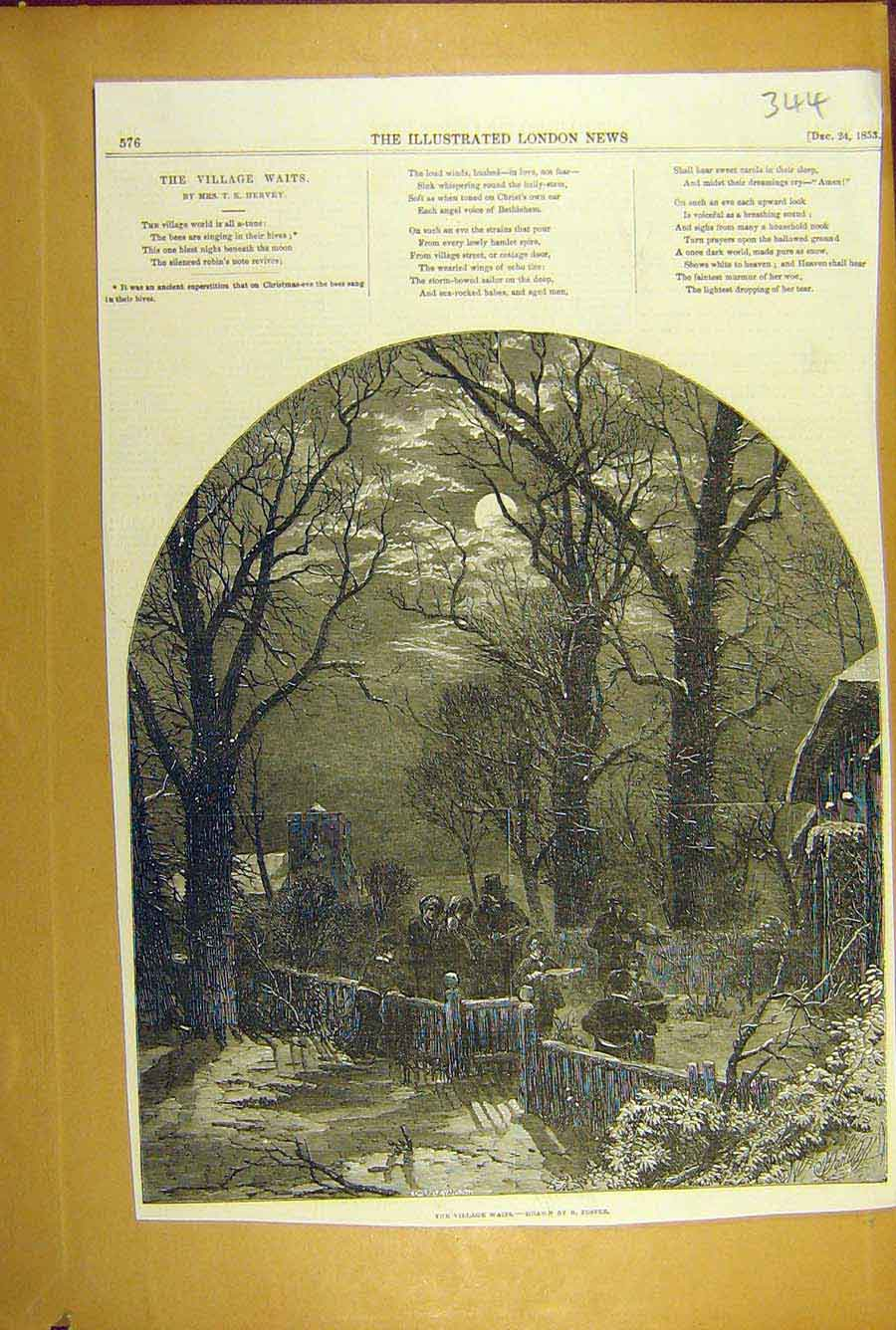 Print 1853 Village Waits Foster Hervey Poetry Choir Carols 448781 Old Original