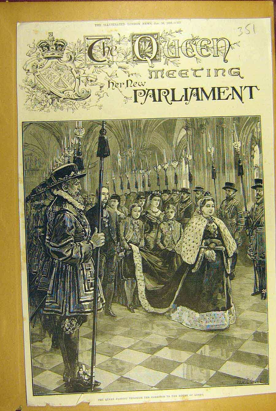 Print 1886 Queen Parliament Victoria House Lords 518781 Old Original