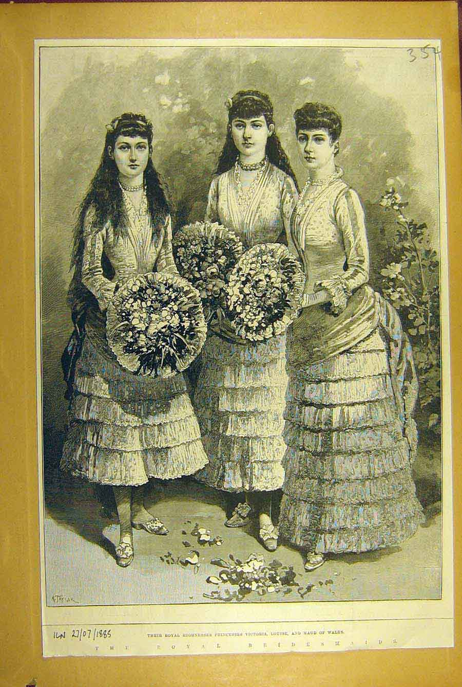 Print 1885 Royal Bridesmaids Princess Vicotria Louise Maud 548781 Old Original