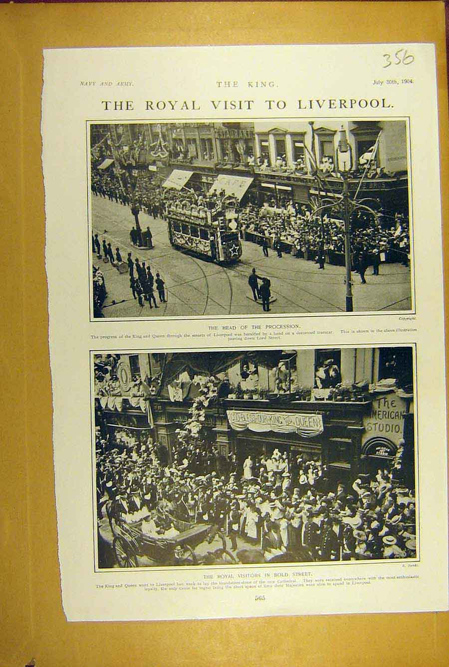 Print 1904 King Liverpool Procession Bold-Street Royal Visit 568781 Old Original