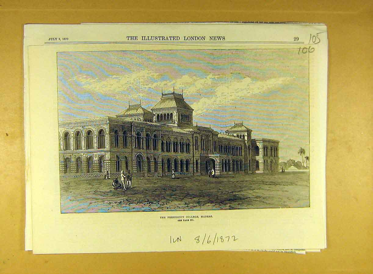 Print 1872 Presidency College Madras India Building  Old Original