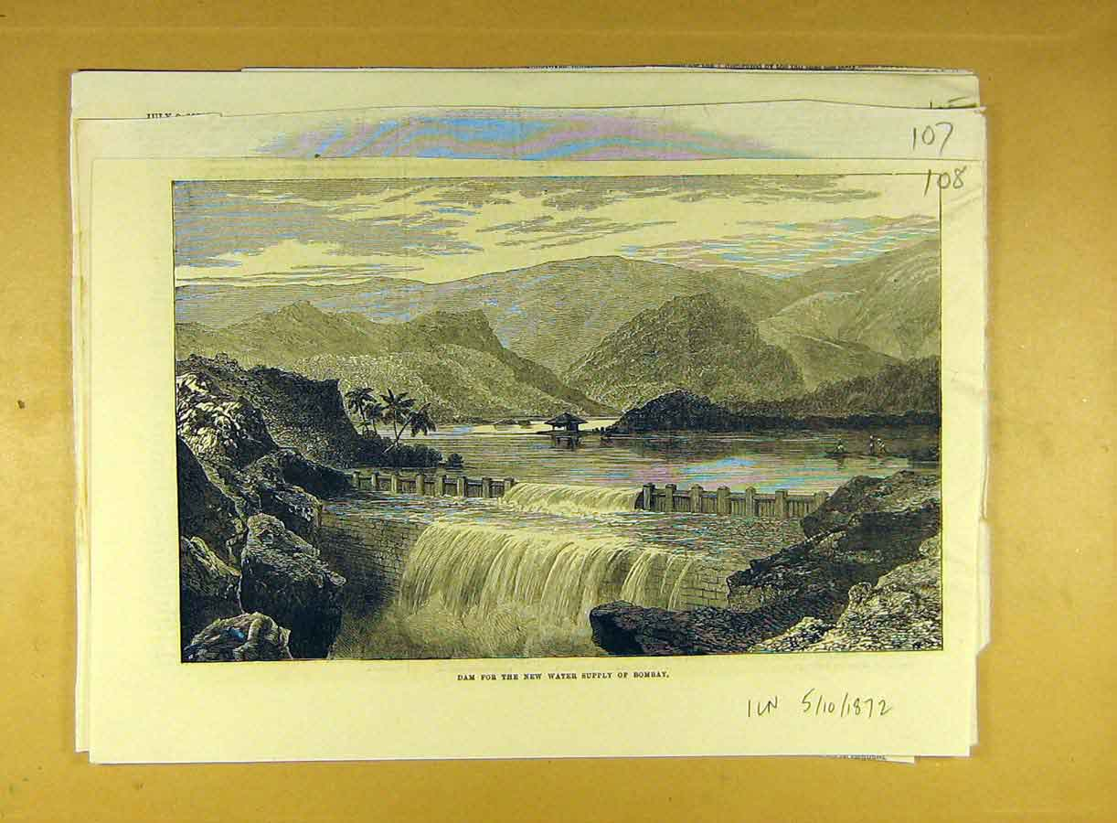 Print 1872 Dam Water-Suppply Bombay India 088791 Old Original