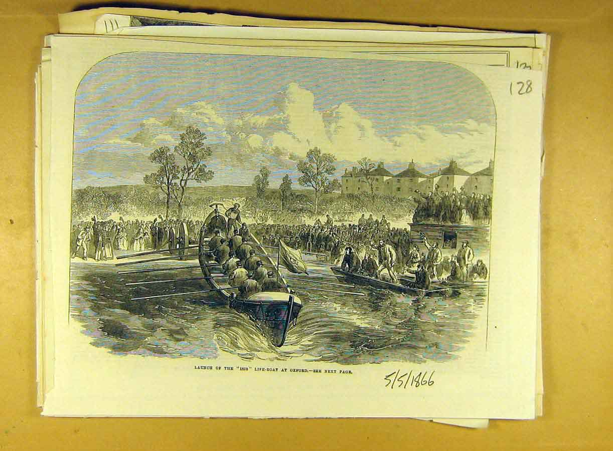 Print 1866 Launch Iris Life-Boat Oxford River Social History 288791 Old Original