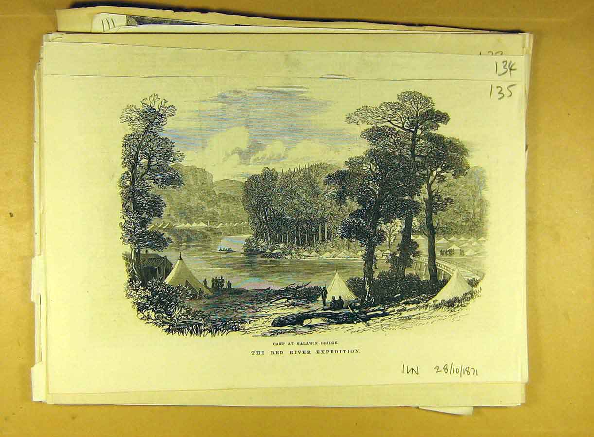 Print 1870 Red-River Camp Malawin Bridge Expedition 358791 Old Original