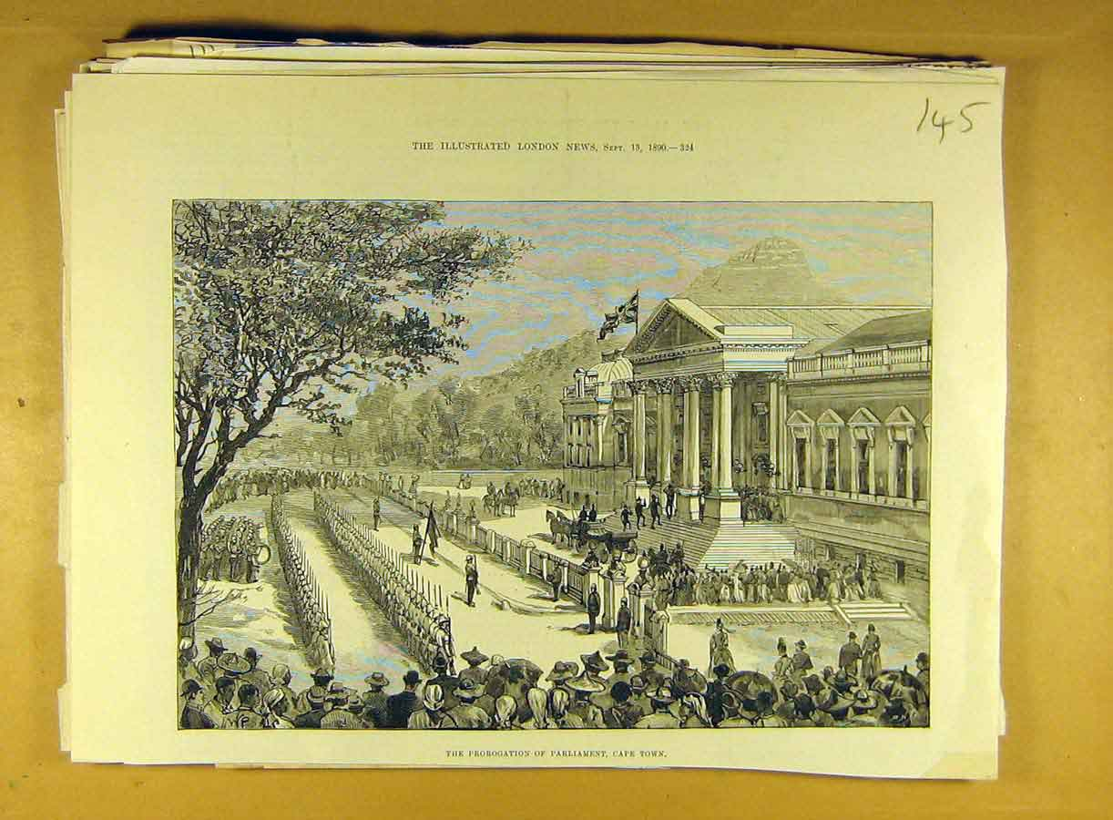 [Print 1890 Prorogation Parliament Cape-Town Africa 458791 Old Original]