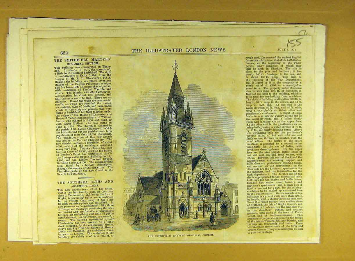 Print 1871 Smithfield Martyrs Memorial Church Building 558791 Old Original
