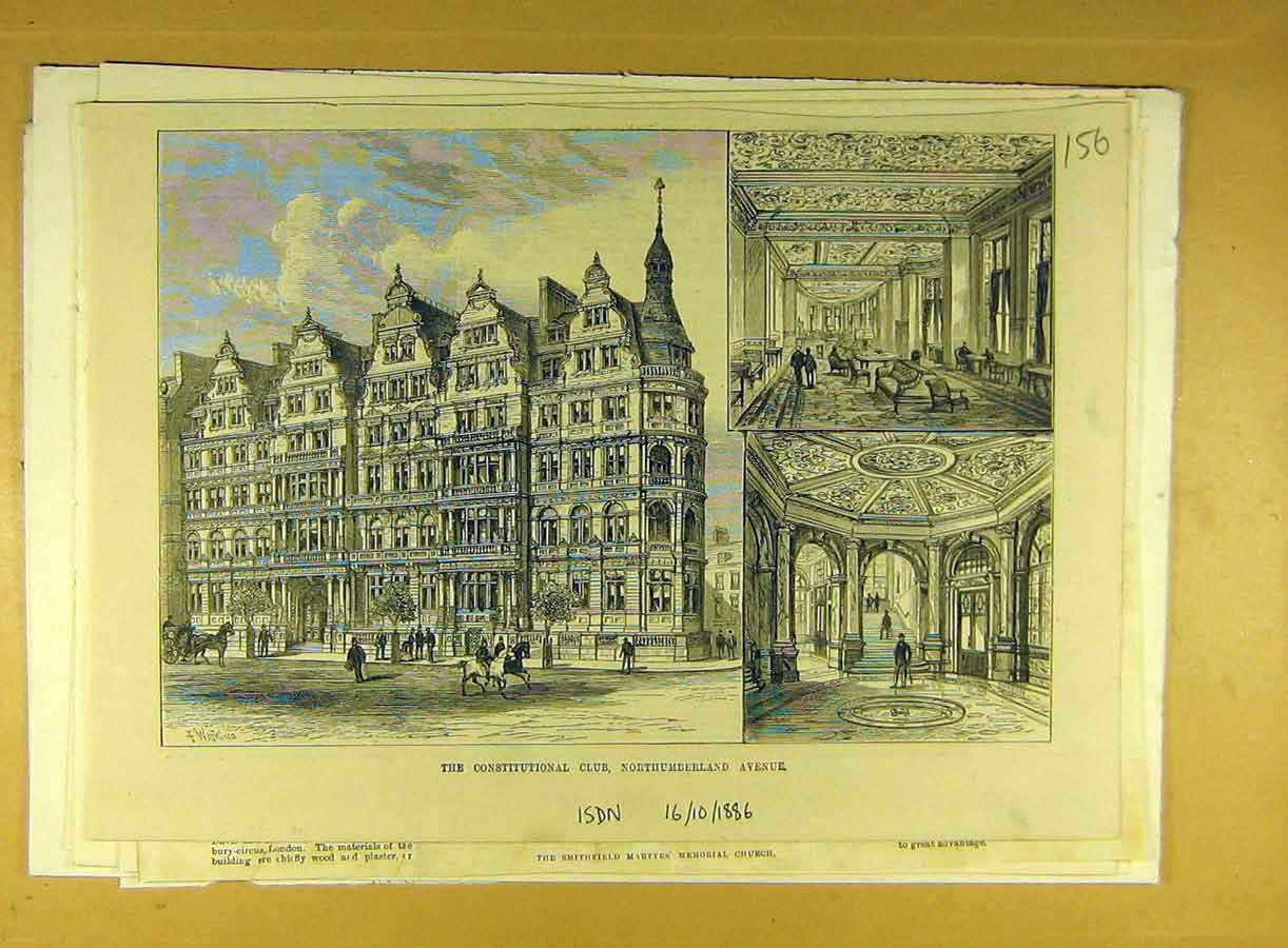 Print 1886 Constitutional Club Northumberland Ave Building 568791 Old Original