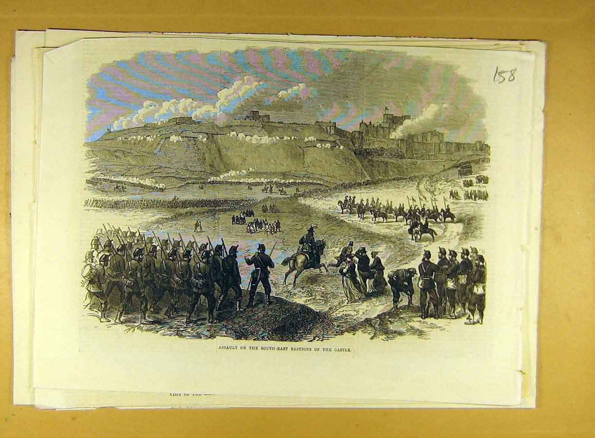 Print Assault South-East Bastions Castle Military 588791 Old Original