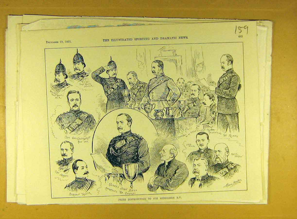Print 1891 Prize Distribution 5Th Middlesex R.V. Military 598791 Old Original