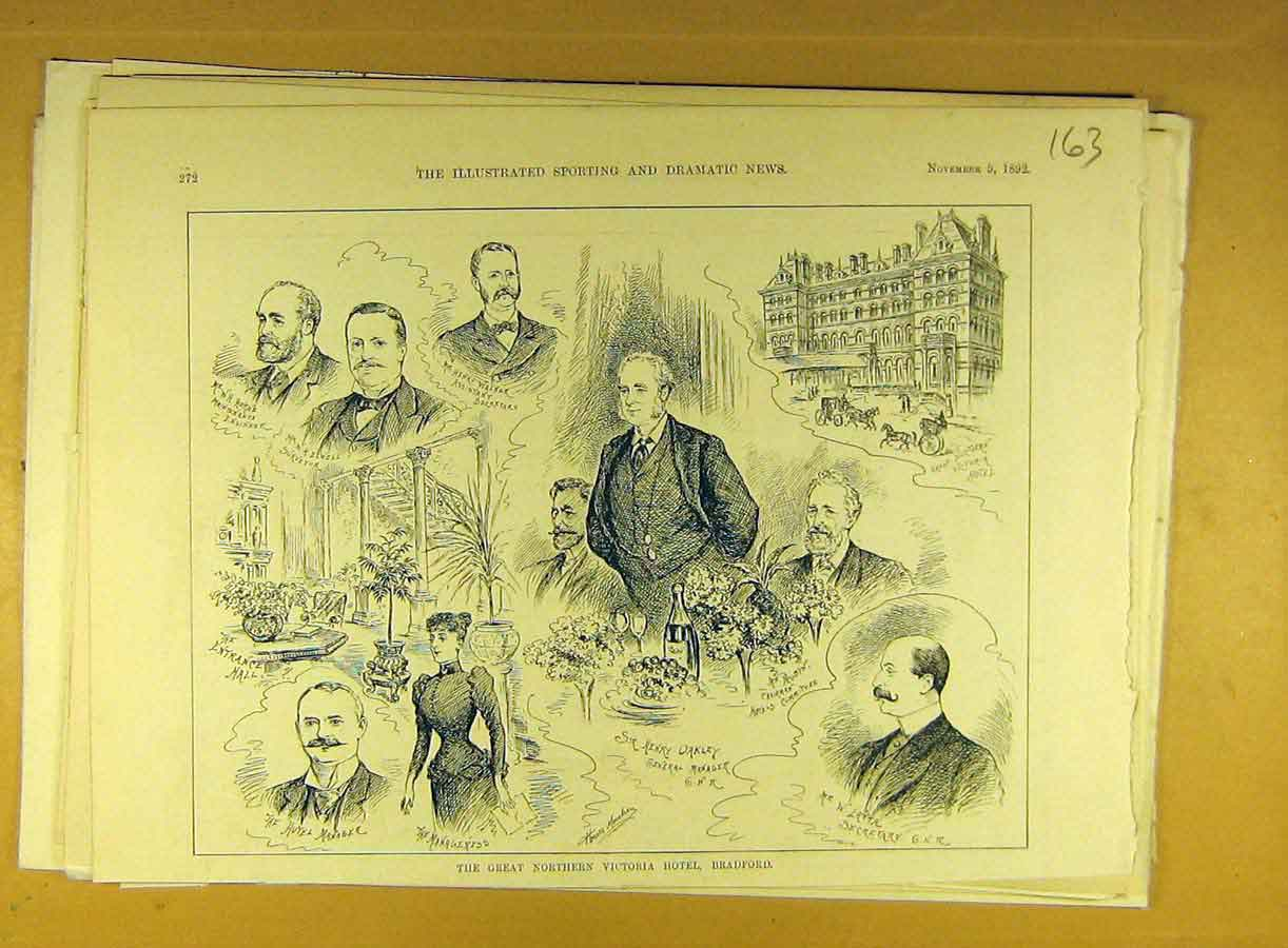 Print 1892 Great-Northern Victoria Hotel Bradford 638791 Old Original