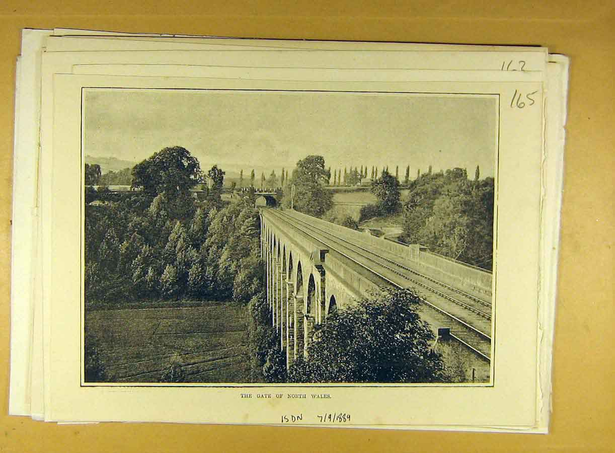Print 1889 Gate North-Wales Welsh Railway Bridge 658791 Old Original